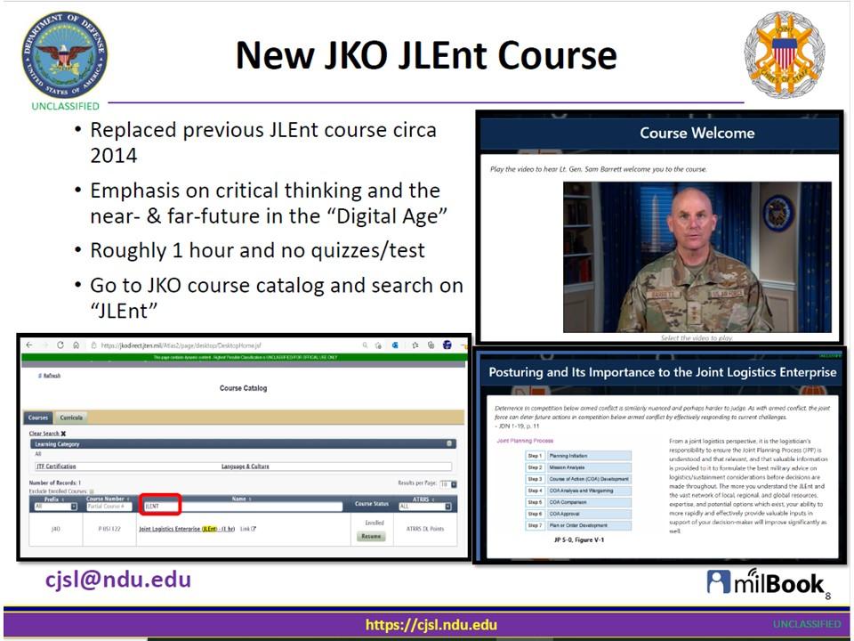 New Joint Logistics Enterprise (JLEnt) Course on JKO!